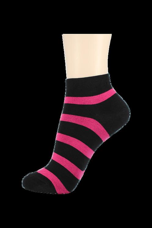 Women's Thin Cotton Ankle 2 Ring Socks Black/Pink