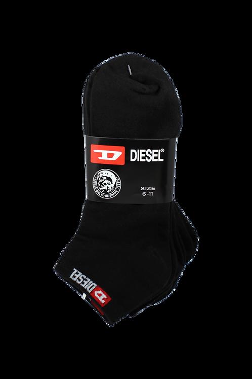 Men's Thin Cotton Ankle Diesel Socks Black (4 in Pack)