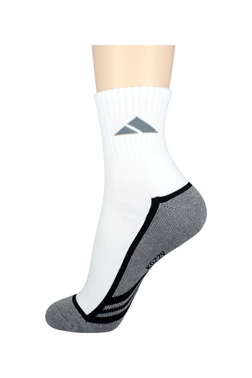 Men's Cushion Quarter Tri Line Socks Grey