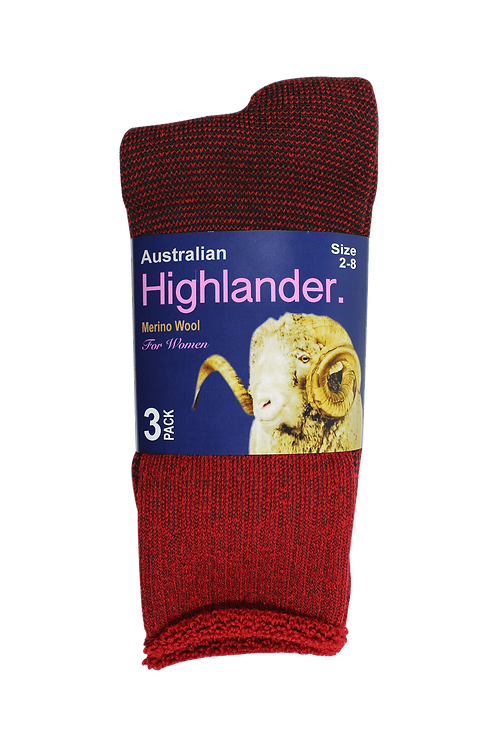 Women's Merino Socks Red (3 in Pack)