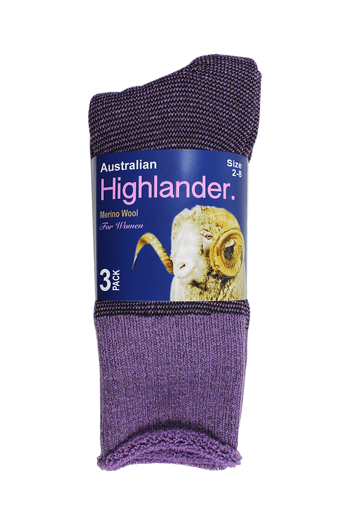 Women's Merino Socks Purple (3 in Pack)
