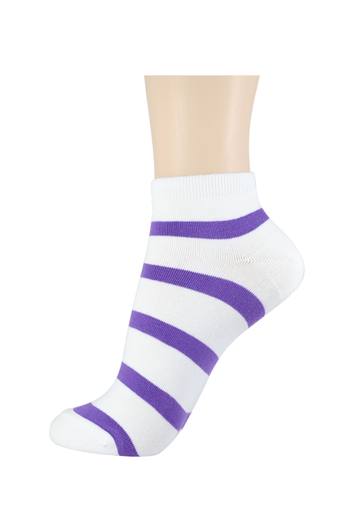 Women's Thin Cotton Ankle 2 Ring Socks White/Purple