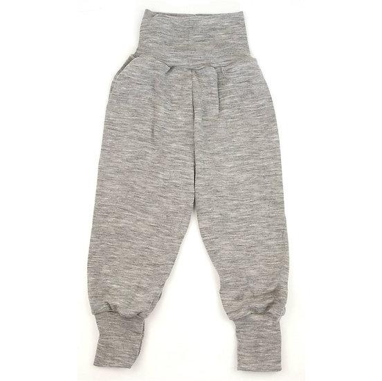 Baby buks loose 70% økologisk uld 30% silke  melange grå