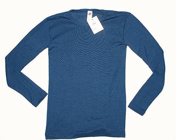 Børne T-shirt lange ærme  70% økologisk uld 30% silke   oceanblå