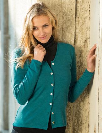 Cardigan Turkis  100% økologisk virgin-wool