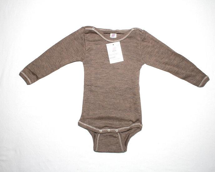 Baby Body lang ærme 70% økologisk uld 30% silke  valnød