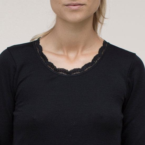 Langærmet T-shirt med blonde