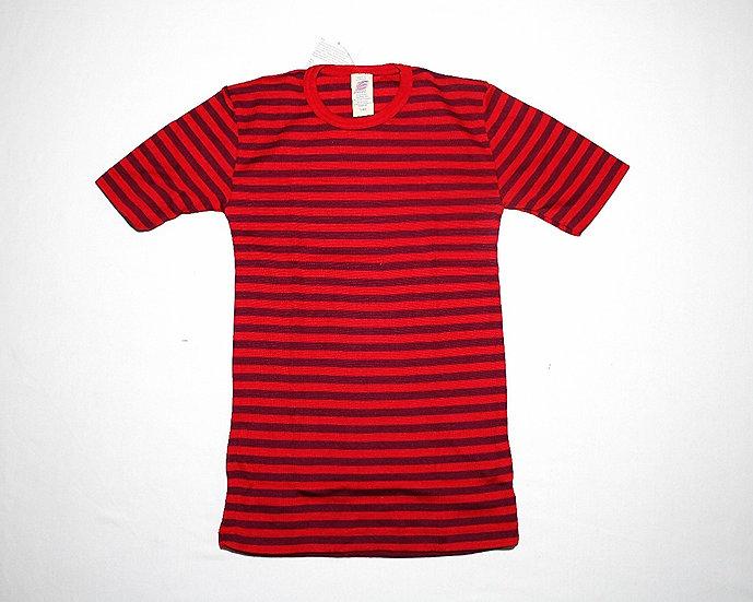 Børne T-shirts kort ærme 70% økologisk uld 30% silke  cherryrød/orcidee