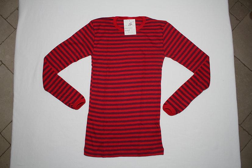 Børne T-shirt lange ærmer 70% økologisk uld 30% silke  cherryrød/orcidee