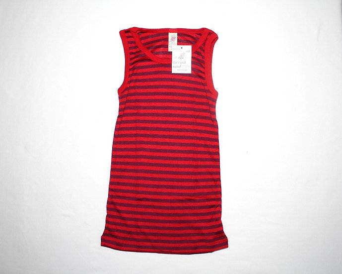 Børne undertrøje u ærmer 70% økologisk uld 30% silke  cherryrød/orcidee