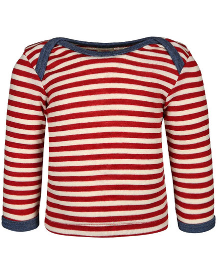 Baby langærmT-shirt.kontraststrib  konveluthalsluk