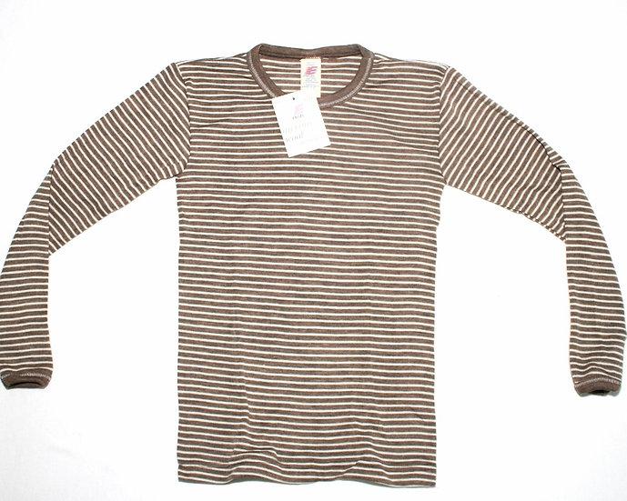 Børne T-shirt lang ærmet 70% økologisk uld 30% silke   valnød/offwhite