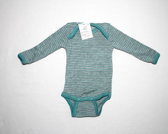 Baby body langærmet  70% økologisk uld 30% silke  turkis/gråmelange