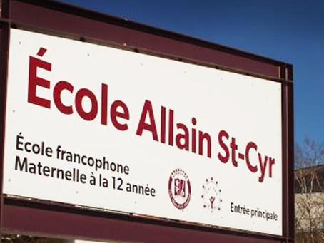 L'École Allain St-Cyr reste fermée jusqu'au 17 octobre 2021