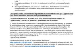 PROLONGATION DE LA FERMETURE DES ÉCOLES À YELLOWKNIFE DE 10 JOURS