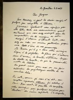 Fac-simile d'une lettre d'Olivier Dhénin à Jacques Boisgallais au sujet de la musique de scène d'ELLÉNORE