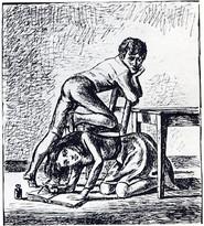 Gravure de Balthus pour LES HAUTS DE HURLEVENT d'Emily Brontë