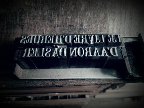 Plombs pour la couverture typographe du Livre d'heures d'Aaron Däsler paru en 2015