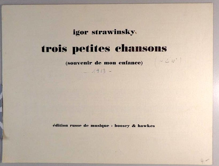 Mélodies de Stravinsky insérées dans la comédie TILIM-BOM FANTAISIE ~ paroles françaises de Charles-Ferdinand Ramuz