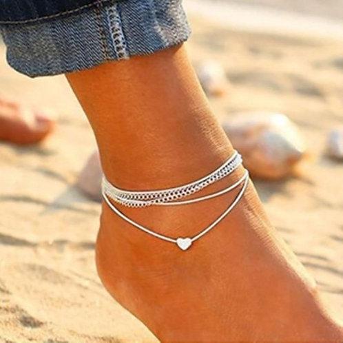 Silver Heart Multi Chain Ankle Bracelet