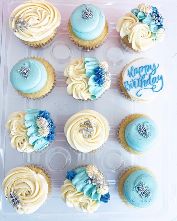Blue Birthday Cupcakes