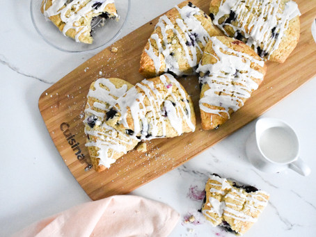 Blueberry Scones with Vanilla Drizzle