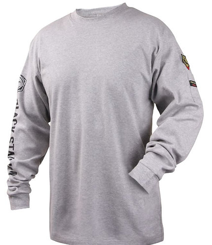 Black Stallion Fire Resistant Cotton Knit Long-Sleeve T-Shirt; TF2510-GY