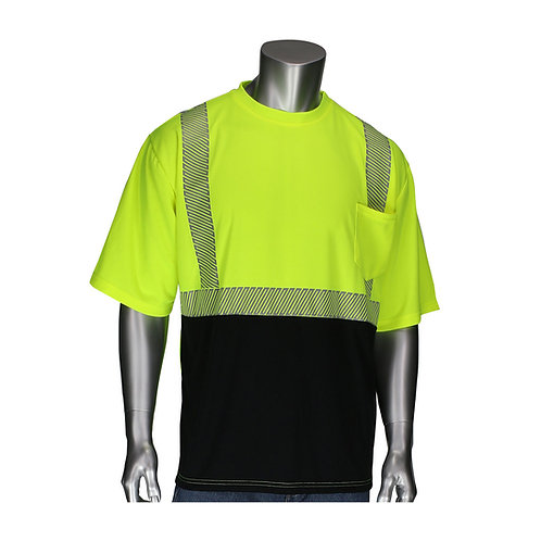 PIP ANSI Type R Class 2 Short Sleeve T-Shirt with Black Bottom Front; 312-1275B