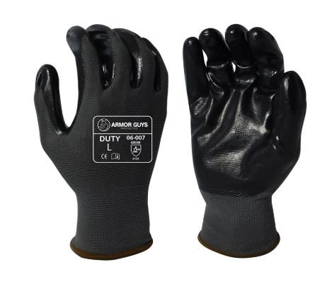Armor Guys Duty Black Nitrile Palm Coated with a Smooth Finish; 06-007