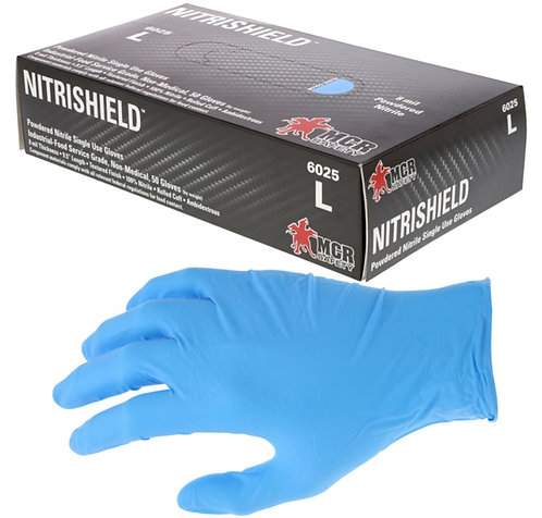 MCR NitriShield 8mm Disposable Powdered Nitrile Glove; 6025