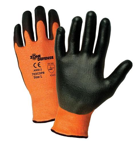 PIP Zone Defense HIS-VIS Orange HPPE Blended, Polyurethane Coated Glove; 703COPB