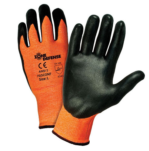 PIP Zone Defense HIS-VIS Orange HPPE Blended, Nitrile Coated Glove; 703CONF