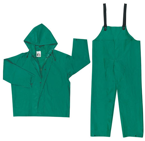 MCR Green 2 Piece Suit Jacket with Zipper Front and Bib Pants; 3882