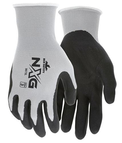 MCR Safety NXG Gray Nylon Black Nitrile Foam Coated Palm Glove; 9673