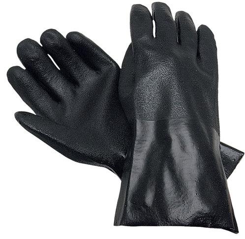 "MCR Double Dip Sandy Black PVC, Interlock Lined 10"" Glove; 6510S"