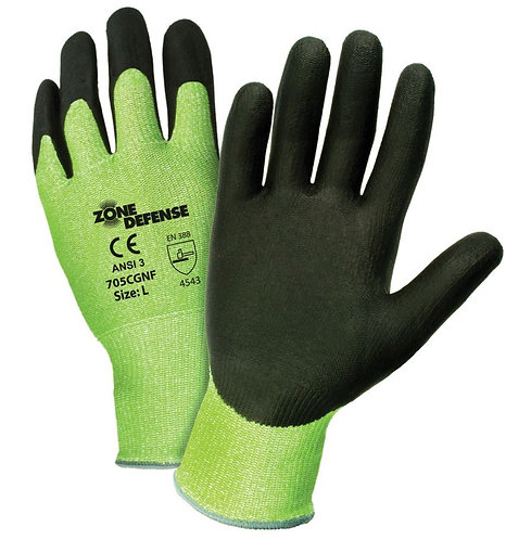 PIP Zone Defense HIS-VIS Green HPPE Blended,Nitrile Coated Glove; 705CGNF