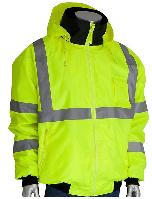 PIP Class 3 Value Bomber Jacket with Zip-Out Fleece Liner; 333-1762