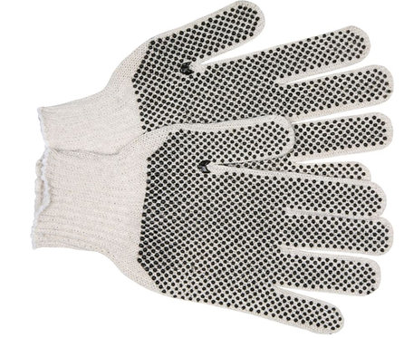 MCR Economy Weight 70% Cotton / 30% Polyester, PVC Dots 2 Sides Glove; 9667M
