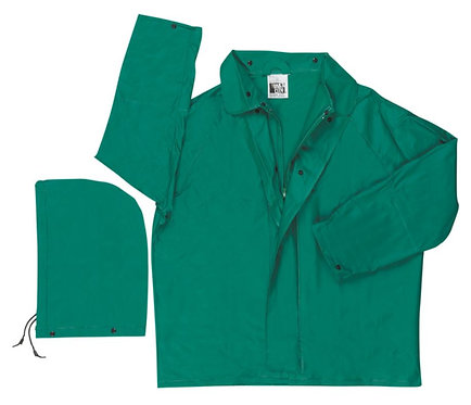 MCR Green PVC Jacket with Removable Hood; 388J