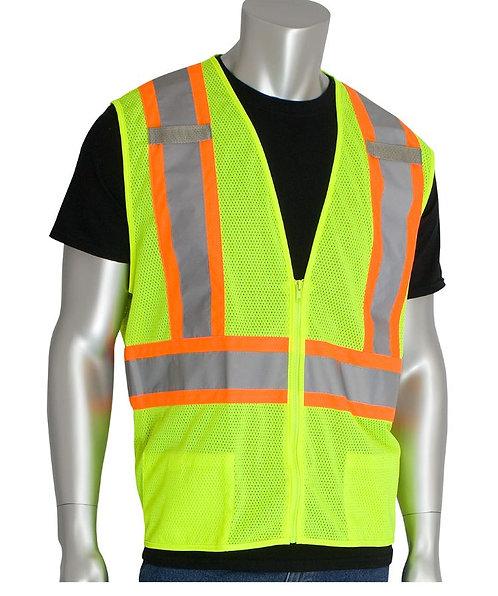 """PIP Class 2 Two-Tone Mesh Vest with """"D"""" Ring Access; 302-0600D"""