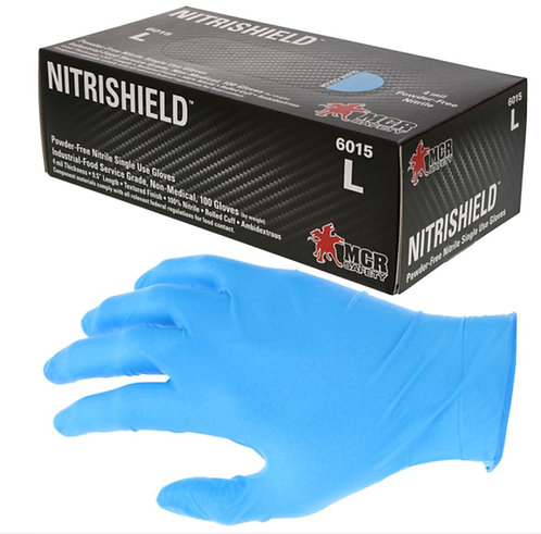 MCR NitriShield 4mm Disposable Powder Free Nitrile Glove; 6015