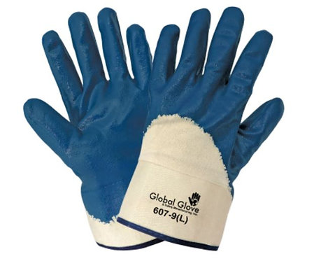Global Glove Solid Nitrile Three-Quarter Dipped Gloves; 607