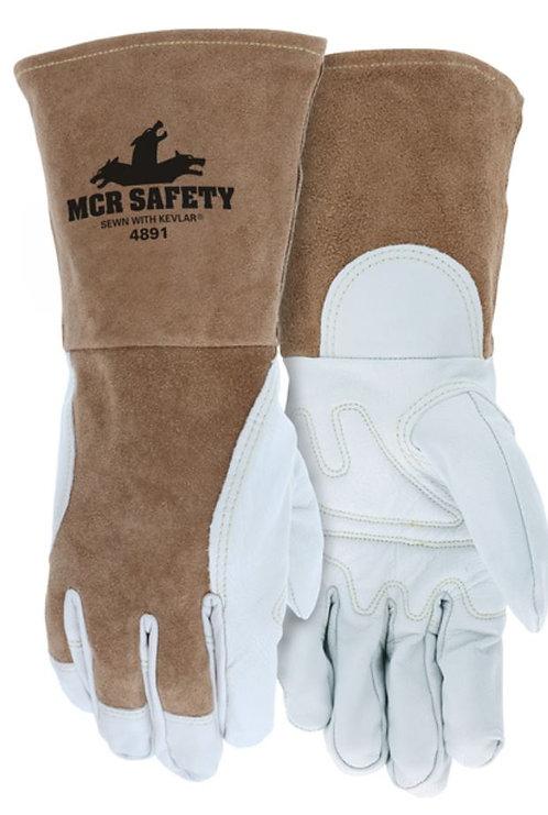 MCR Premium Top Grain Goatskin Palm Split Leather Back Welding Glove 4891