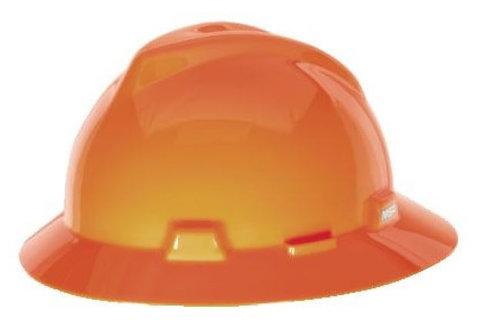MSA V-Gard Full Brim Hard Hat w/ Ratchet Fas-Trac III Suspension