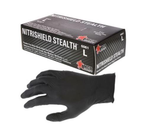MCR NitriShield™  Disposable Black Nitrile, Powder Free Gloves; 6061