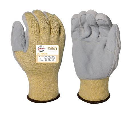 Armor Guys Taeki5® Gray Sewn on Leather Palm Liner Glove; 01-006