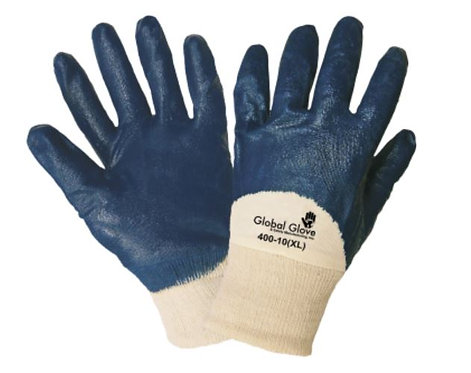 Global Glove Two Piece Interlocked Three-Quarter Nitrile Dipped Glove; 400