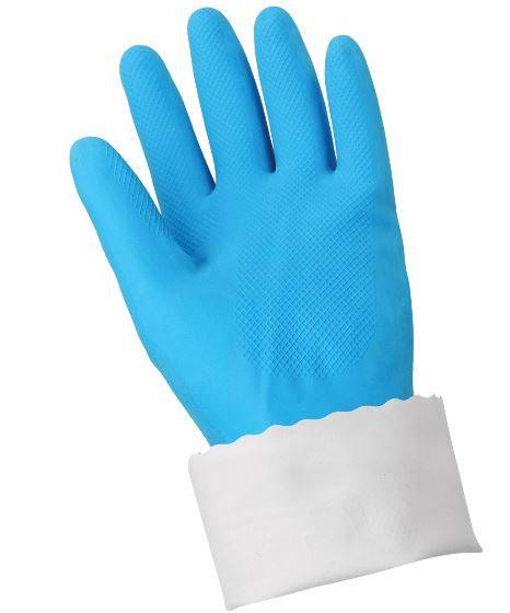 Glove Glove FrogWear Blue Flock-Lined 18mil Rubber Latex w/ Pattern Grip Glove