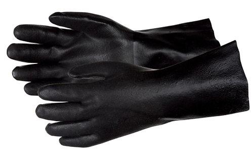 "MCR Double Dip Sandy Black PVC, Jersey Lined 10"" Glove; 6510SJ"