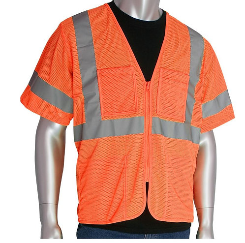 PIP Class 3 Value Four Pocket Zipper Mesh Vest; 303-MVGZ4P